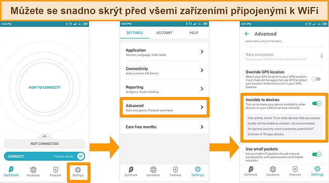 Screenshot funkce Surfshark neviditelná pro zařízení v aplikaci pro Android