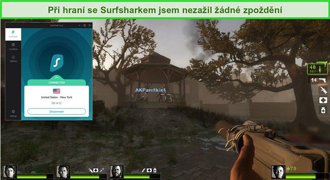 """Screenshot z videohry """"Left 4 Dead 2"""" se serverem Surfshark připojeným k umístění serveru v USA"""