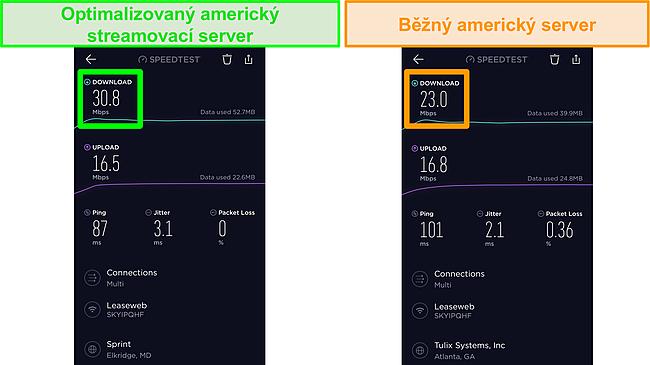 Screenshot testů rychlosti Ookla iOS