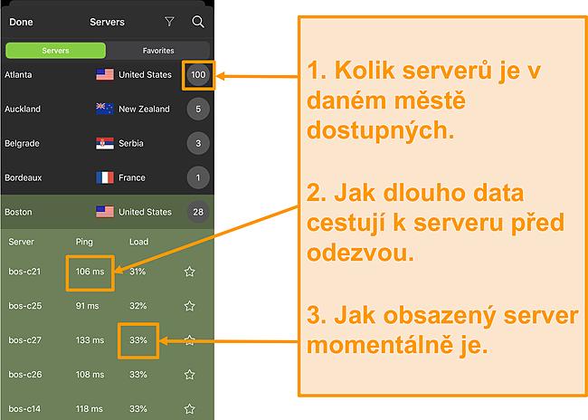 Screenshot ze seznamu serverů IPVanish se zvýrazněnými čísly serveru, ping a zatížením serveru