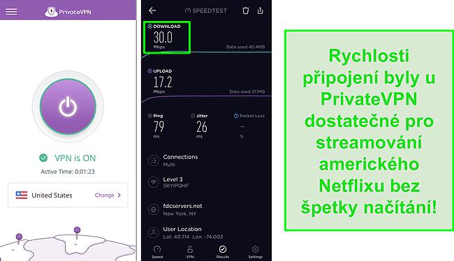 Screenshot z PrivateVPN připojeného k americkému serveru a testu rychlosti Ookla