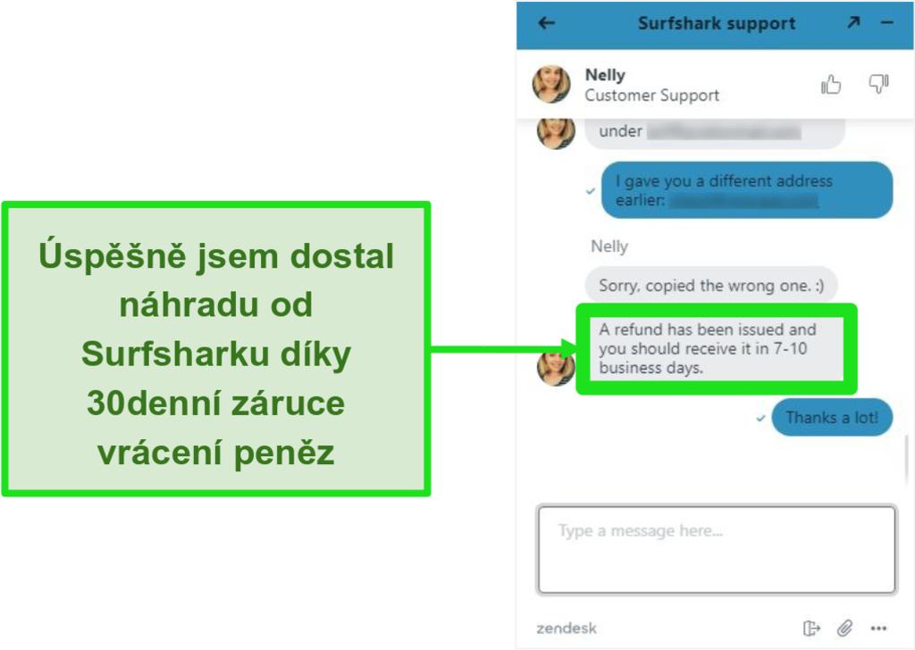 Screenshot živého chatu Surfshark a žádosti o vrácení peněz