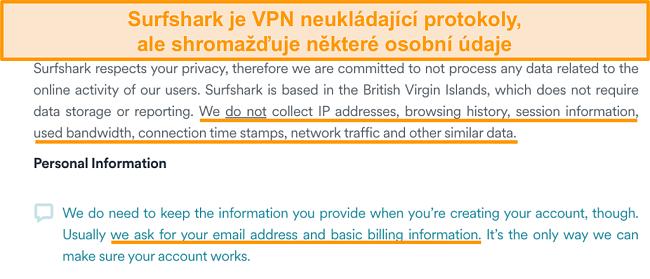 Screenshot zásad ochrany osobních údajů Surfsharku