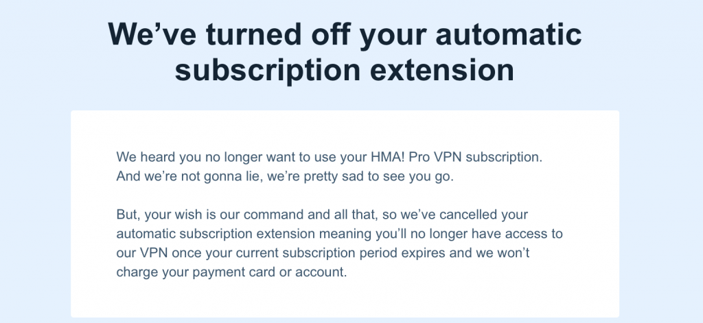 Automatic subscription cancelation