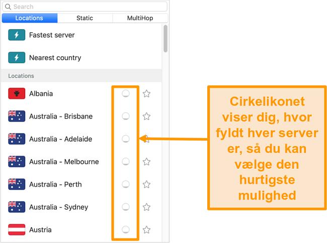 Skærmbillede af Surfsharks serverliste, der viser serverbelastning