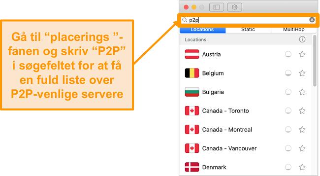 Skærmbillede af Surfsharks P2P-servere på Mac-appen