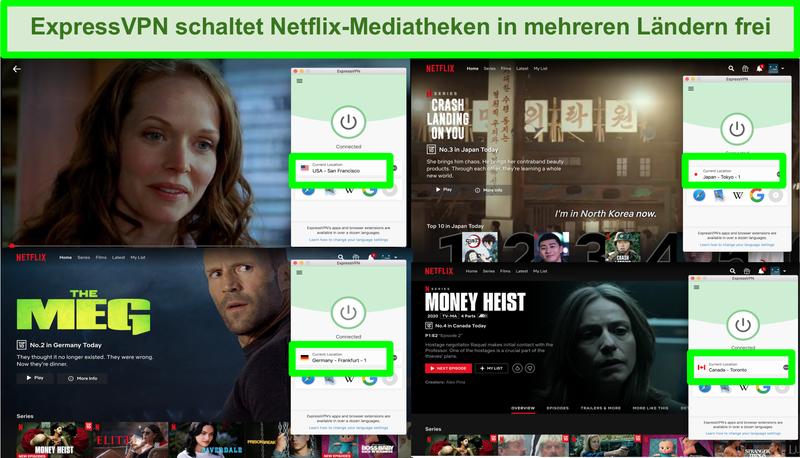 Screenshot mit ExpressVPN, das Netflix-Geoblock in vielen Regionen umgehen kann