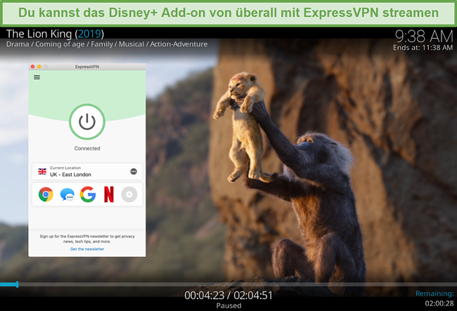 Screenshot von Disney Plus-Streaming auf Kodi, während eine Verbindung zu einem ExpressVPN-Server in Großbritannien besteht