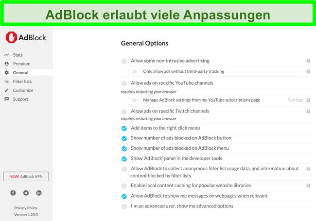Screenshot mit den vielen Anpassungsoptionen von AdBlock