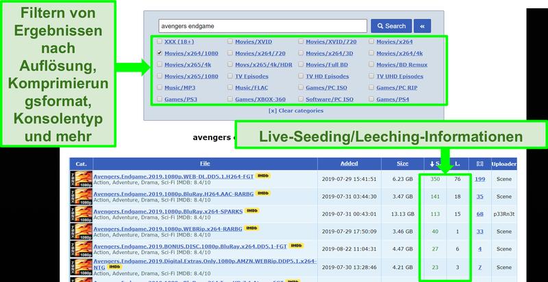 Screenshot der RARBG-Suchseite