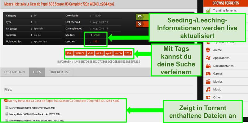 Screenshot der Download-Seite von 1337xTorrents