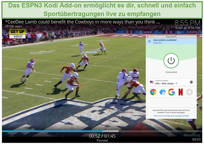 Screenshot des Streaming von Fußball auf ESPN3 mit Kodi