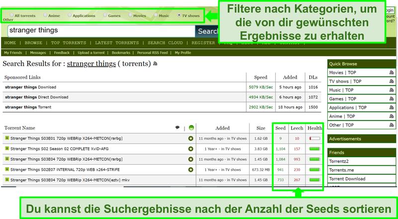 Screenshot der Limetorrents-Suchseite