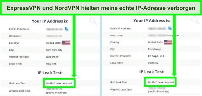 Screenshot zeigt, dass sowohl für NordVPN als auch für ExpressVPN kein IPv6-Leck erkannt wurde