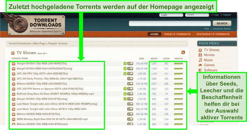 Screenshot der Zielseite von TorrentDownloads