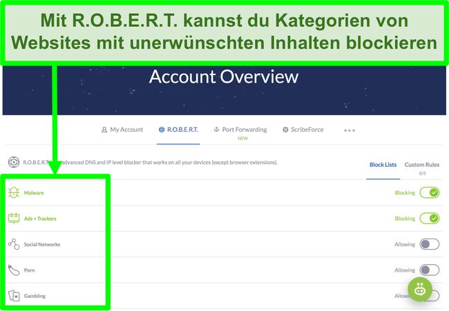 Screenshot der Winscribe-Einstellungsseite mit Optionen zum Blockieren von Anzeigen, Malware und Kategorien von Websites
