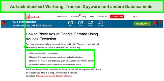 Screenshot der AdLock-Website mit der Angabe, dass keine Richtlinien für