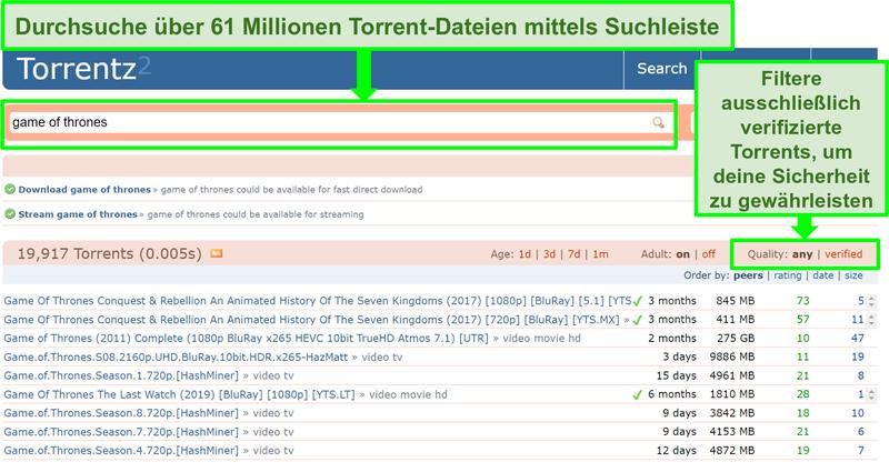 Screenshot der Torrentz2-Suchseite