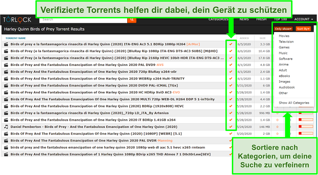 Screenshot von gefälschten Links auf TorLock