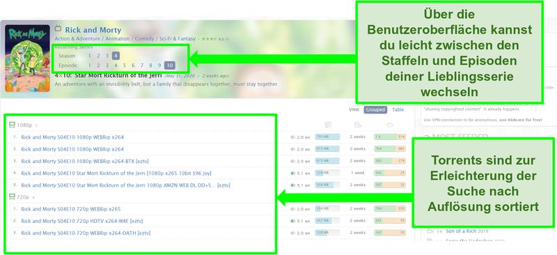 Screenshot der Zooqle-Landingpage