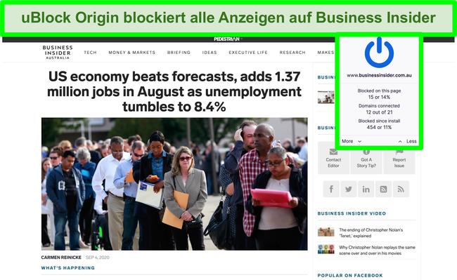 Screenshot von uBlock Origin, der alle Anzeigen auf Business Insider blockiert