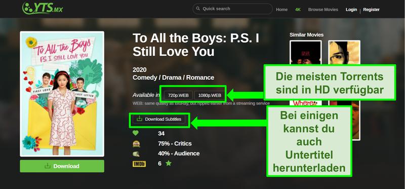 Screenshot der YTS-Landingpage