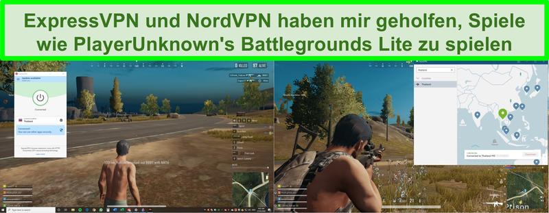 Screenshot von NordVPN und ExpressVPN, die die Battlegrounds Lite von PlayerUnknown auf dem PC entsperren