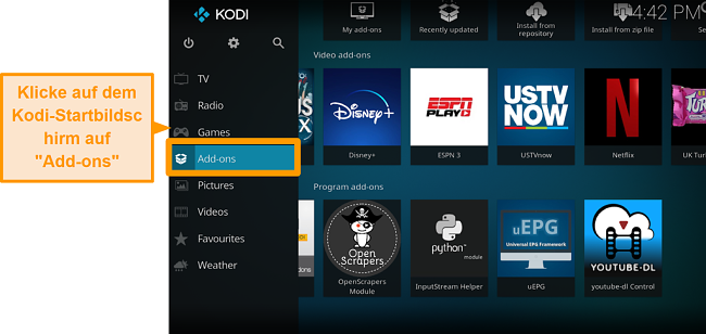 Screenshot von der Installation des offiziellen Kodi Addons Schritt Zwei Klick Addons