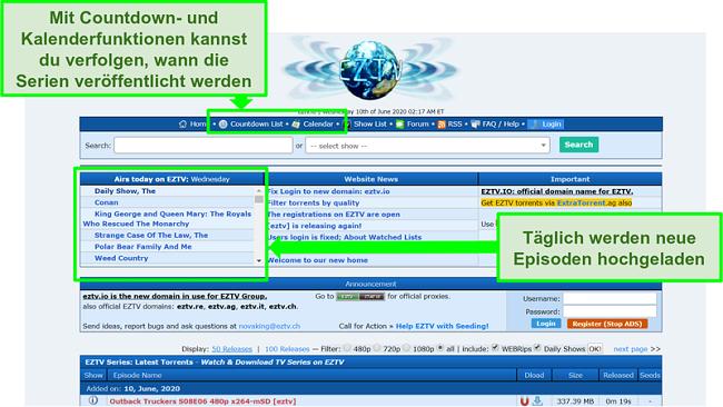 Screenshot der EZTV-Landingpage