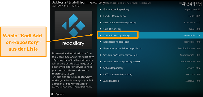 Screenshot zur Installation des offiziellen Kodi-Addons Schritt 5 Klicken Sie in der Liste auf Kodi Add-On-Repository