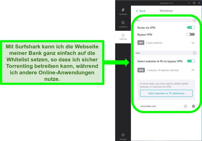 Screenshot der Surfshark App- und URL-Whitelister-Filter