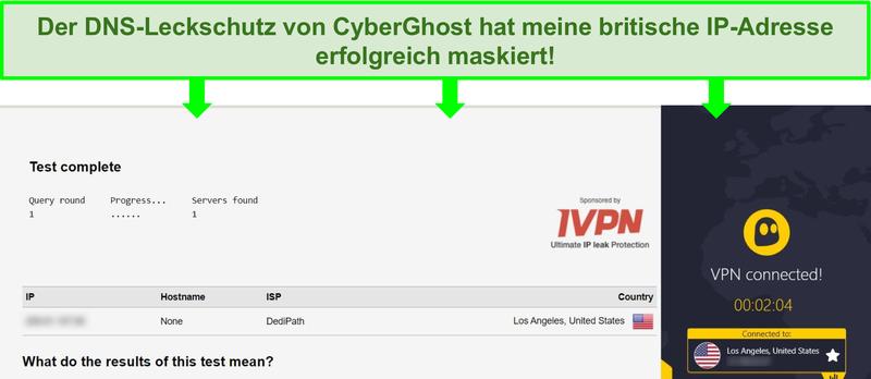 Screenshot eines DNS-Lecktests, während eine Verbindung zu CyberGhost besteht