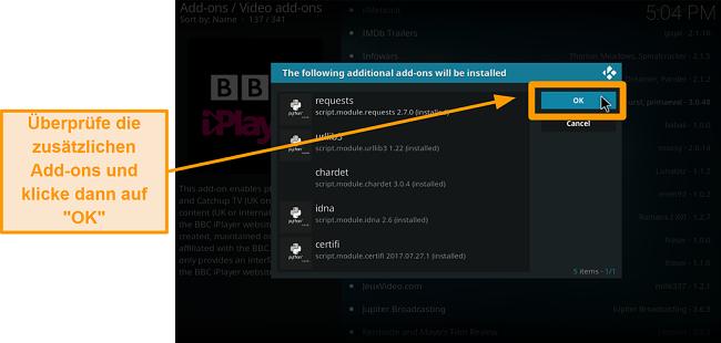 Screenshot von der Installation des offiziellen Kodi Addons Schritt 9 Überprüfen Sie die zusätzlichen Addons und klicken Sie auf OK