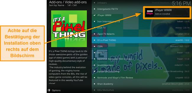 Ein Screenshot der Installation der offiziellen Kodi Addon-Benachrichtigung für Schritt 10 wird angezeigt