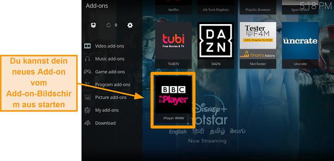 Screenshot von der Installation des offiziellen Kodi Addons Schritt 11 Starten Sie ein neues Addon von der Homepage