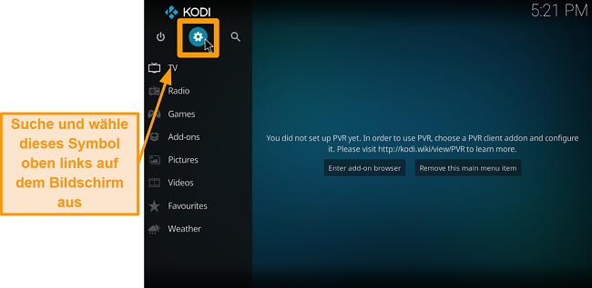 Screenshot, wie man das Kodi Addon eines Drittanbieters installiert Schritt 2 Klicken Sie auf das Kästchensymbol