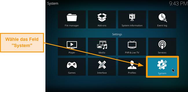 Screenshot, wie man Kodi Addon von Drittanbietern installiert Schritt 3 Klicken Sie auf das System