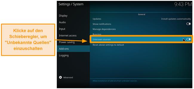 Screenshot So installieren Sie das Kodi-Addon eines Drittanbieters Schritt 4 Schalten Sie unbekannte Quellen ein