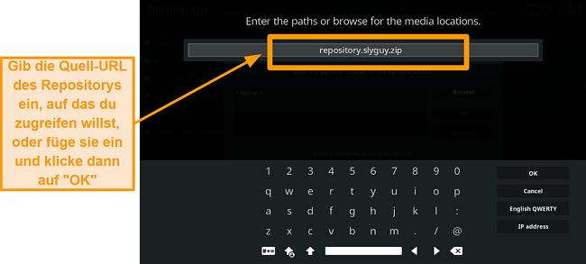 Screenshot, wie man Kodi Addon von Drittanbietern installiert Schritt 8 Typ Quell-URL