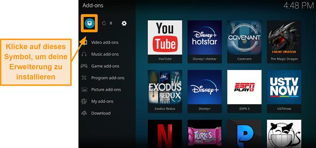 Screenshot, wie man das Kodi Addon eines Drittanbieters installiert Schritt 13 Klicken Sie auf das Box-Symbol