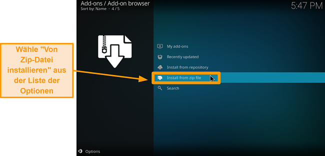 Screenshot So installieren Sie das Kodi Addon eines Drittanbieters Schritt 14 Klicken Sie auf Von ZIP-Datei installieren