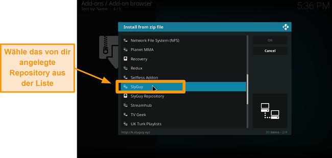 Screenshot, wie man ein Kodi-Addon eines Drittanbieters installiert Schritt 15 Wählen Sie das Repo