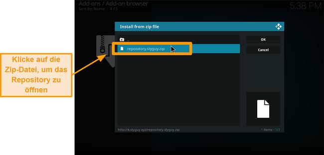 Screenshot So installieren Sie das Kodi Addon eines Drittanbieters Schritt 16 Klicken Sie auf die Zip-Datei, um das Repo zu öffnen
