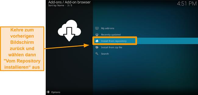 Screenshot So installieren Sie das Kodi Addon eines Drittanbieters Schritt 17 Klicken Sie auf Aus Repository installieren