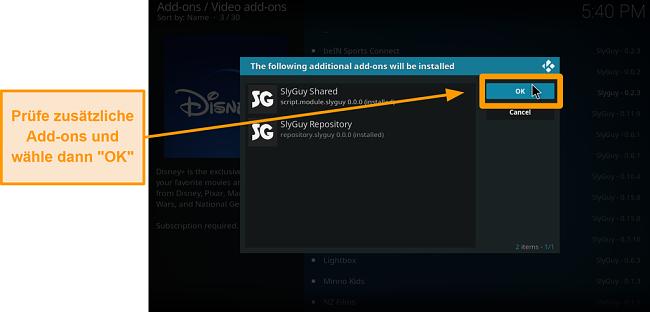 Screenshot, wie man Kodi Addon von Drittanbietern installiert Schritt 18 Sheck Extra Addons, dann klicken Sie auf OK