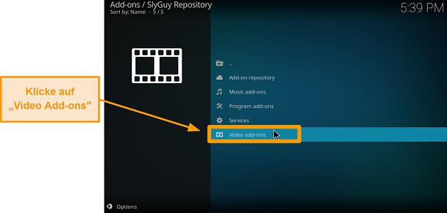 Screenshot, wie man Kodi Addon von Drittanbietern installiert Schritt 20 Klicken Sie auf Video Addons