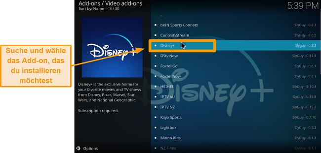 Screenshot So installieren Sie das Kodi-Addon eines Drittanbieters Schritt 21 Finden Sie das gewünschte Addon