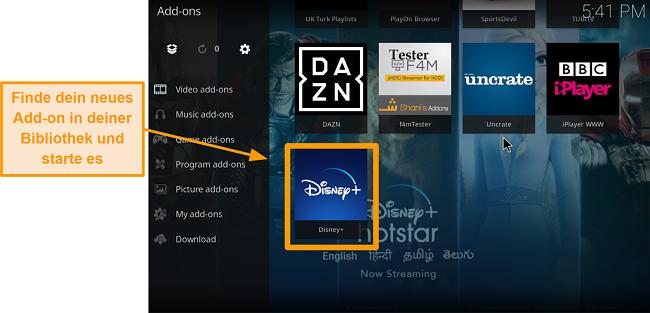 Screenshot So installieren Sie das Kodi-Addon eines Drittanbieters Schritt 9 Doppelklicken Sie auf das Namensfeld, um das Addon in der Bibliothek zu finden