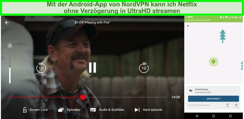 Screenshot der NordVPN-Android-Oberfläche und von Netflix, die Tiger King spielen, während sie mit einem US-Server verbunden sind