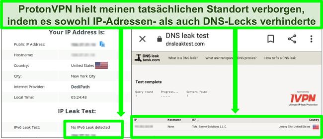 Screenshot eines DNS- und IP-Adresslecktests, der keine IP-Adresslecks zeigt, während eine Verbindung zu ProtonVPN besteht